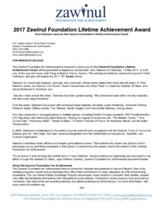 2017 Zawinul Foundation Lifetime Achievement Award